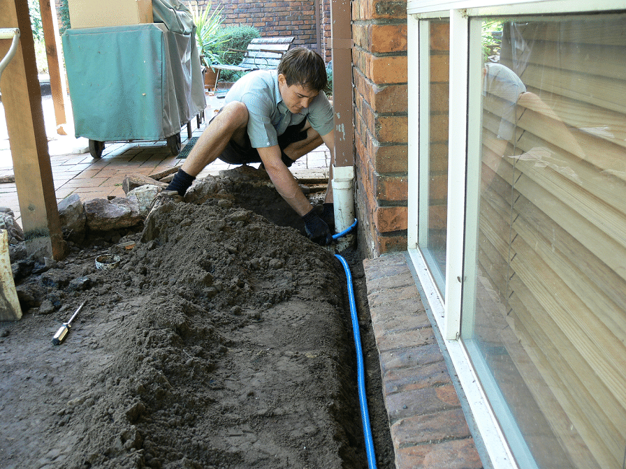 Termite reticulation barrier installation.